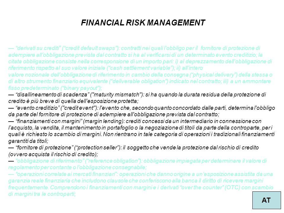 """35 FINANCIAL RISK MANAGEMENT AT — """"derivati su crediti"""" (""""credit default swaps""""): contratti nei quali l'obbligo per il fornitore di protezione di adem"""