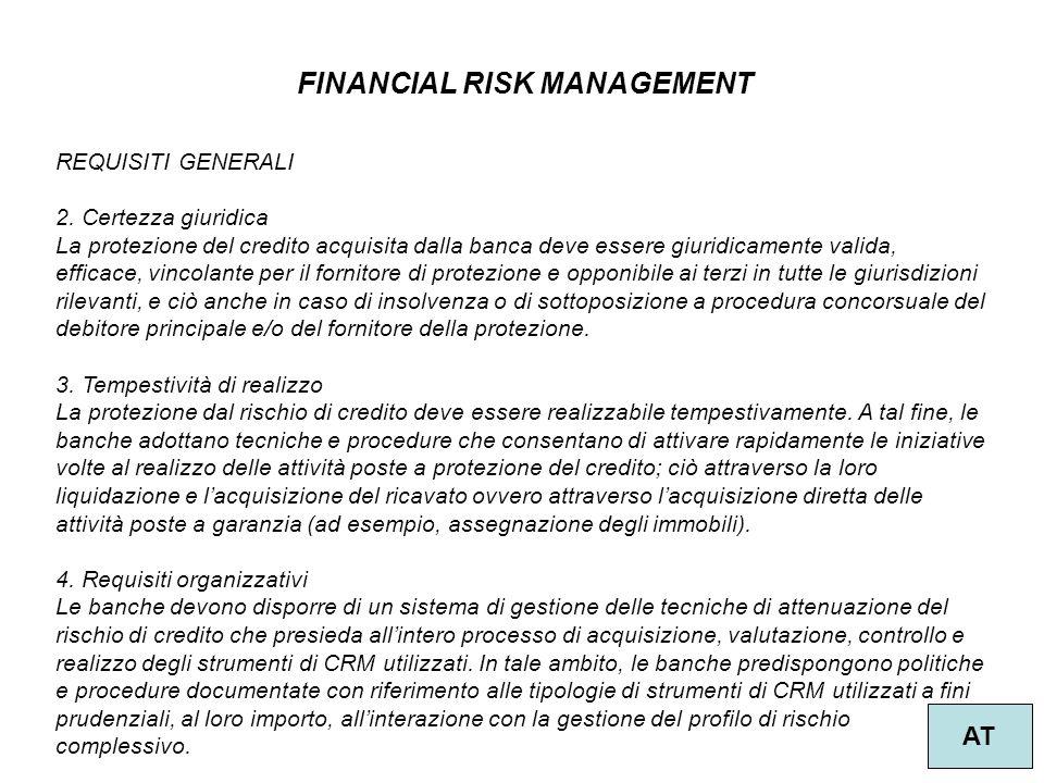 36 FINANCIAL RISK MANAGEMENT AT REQUISITI GENERALI 2. Certezza giuridica La protezione del credito acquisita dalla banca deve essere giuridicamente va