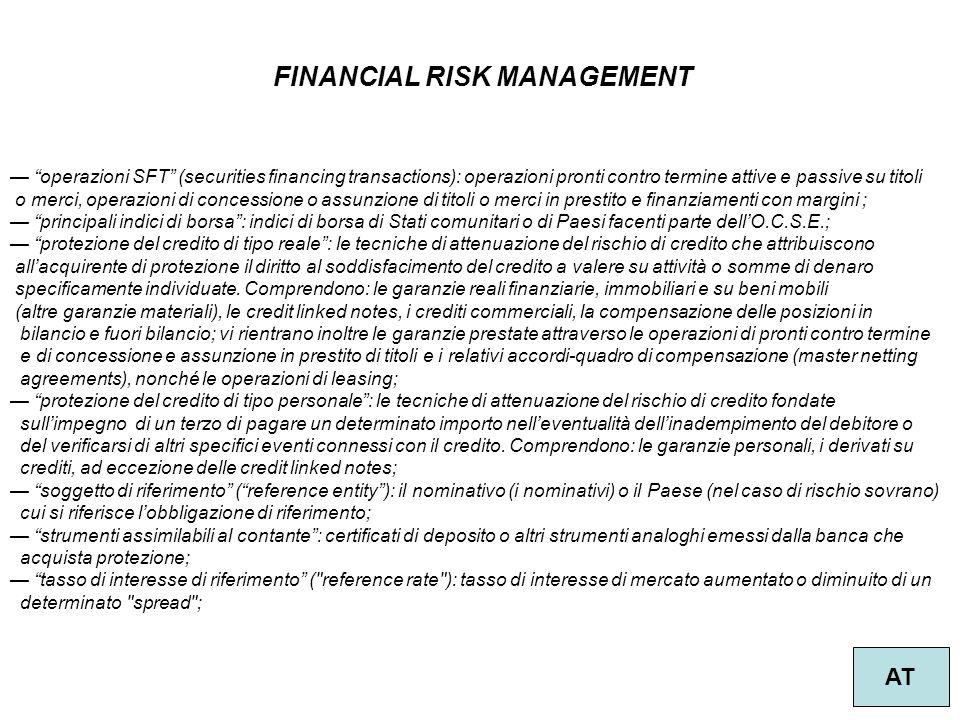 """37 FINANCIAL RISK MANAGEMENT AT — """"operazioni SFT"""" (securities financing transactions): operazioni pronti contro termine attive e passive su titoli o"""