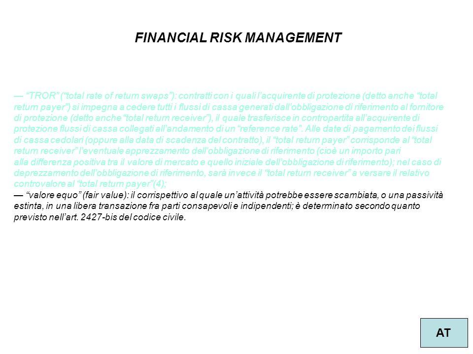 """38 FINANCIAL RISK MANAGEMENT AT — """"TROR"""" (""""total rate of return swaps""""): contratti con i quali l'acquirente di protezione (detto anche """"total return p"""