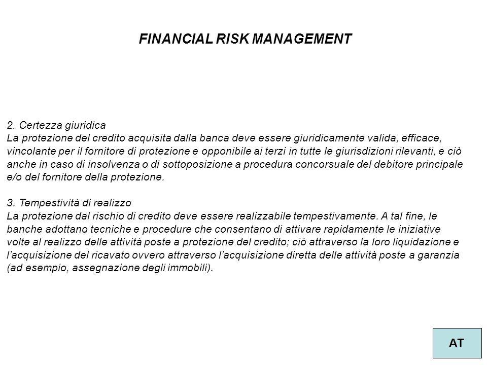 39 FINANCIAL RISK MANAGEMENT AT 2. Certezza giuridica La protezione del credito acquisita dalla banca deve essere giuridicamente valida, efficace, vin