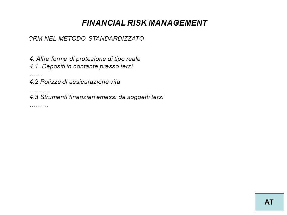 43 FINANCIAL RISK MANAGEMENT AT CRM NEL METODO STANDARDIZZATO 4. Altre forme di protezione di tipo reale 4.1. Depositi in contante presso terzi …… 4.2