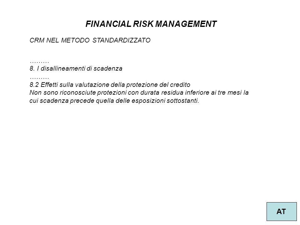 45 FINANCIAL RISK MANAGEMENT AT CRM NEL METODO STANDARDIZZATO ……… 8. I disallineamenti di scadenza ……… 8.2 Effetti sulla valutazione della protezione