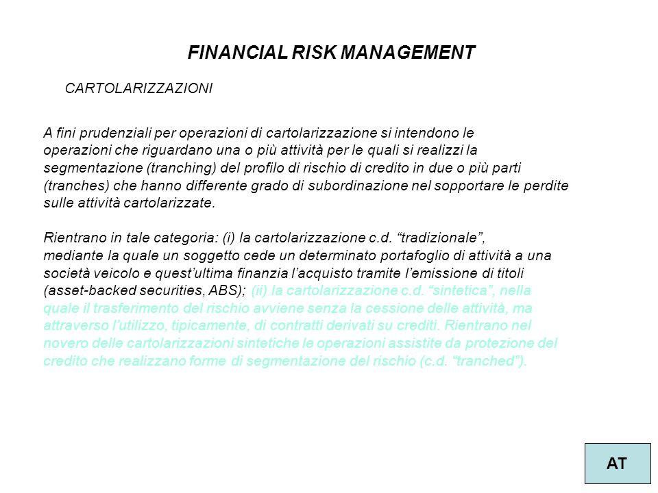 47 FINANCIAL RISK MANAGEMENT AT CARTOLARIZZAZIONI A fini prudenziali per operazioni di cartolarizzazione si intendono le operazioni che riguardano una