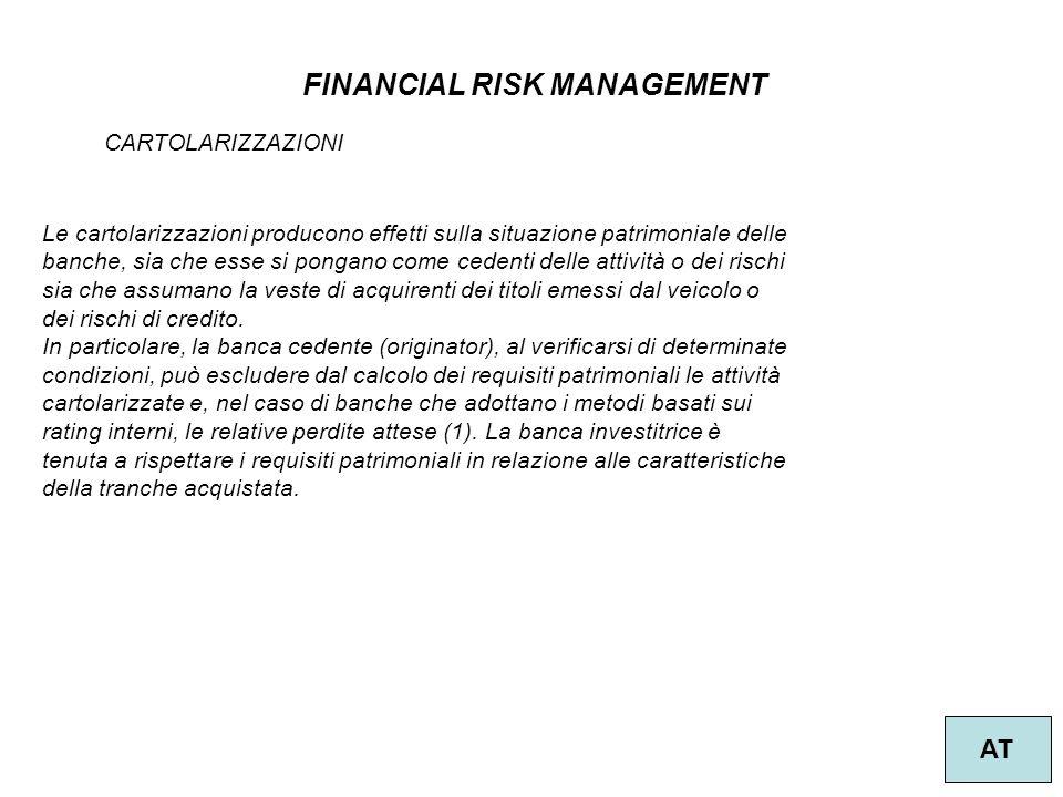 48 FINANCIAL RISK MANAGEMENT AT CARTOLARIZZAZIONI Le cartolarizzazioni producono effetti sulla situazione patrimoniale delle banche, sia che esse si p