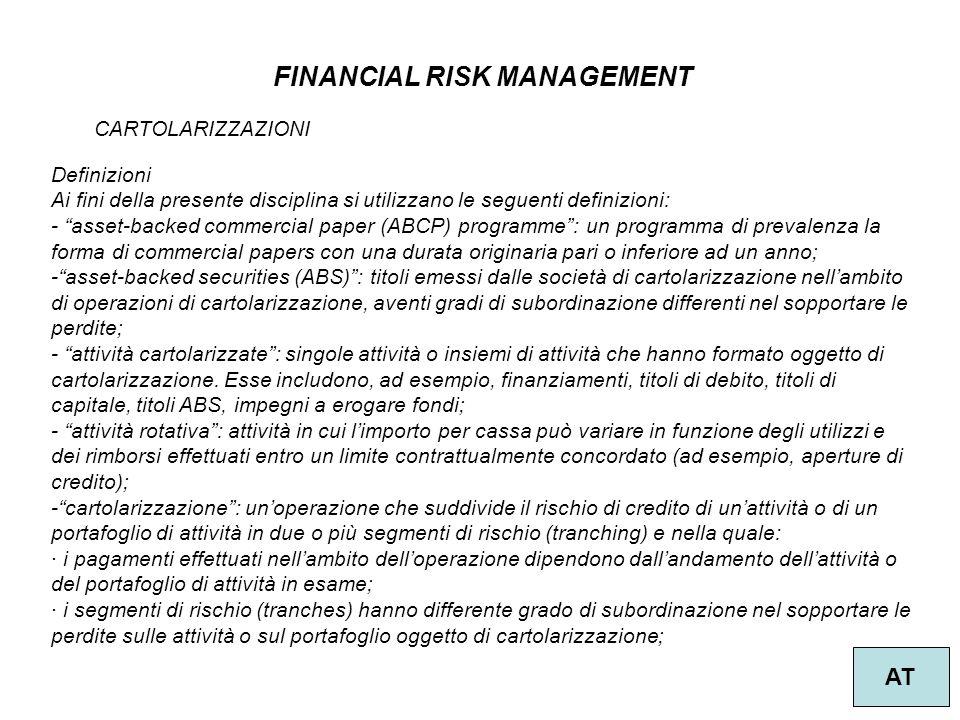 """49 FINANCIAL RISK MANAGEMENT AT CARTOLARIZZAZIONI Definizioni Ai fini della presente disciplina si utilizzano le seguenti definizioni: - """"asset-backed"""