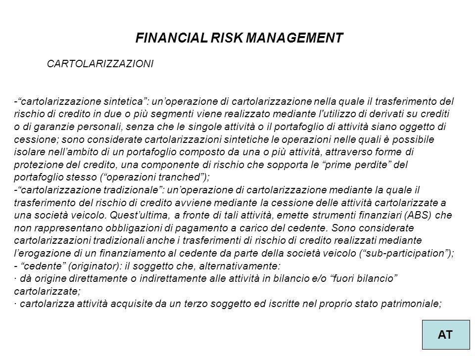 """50 FINANCIAL RISK MANAGEMENT AT CARTOLARIZZAZIONI -""""cartolarizzazione sintetica"""": un'operazione di cartolarizzazione nella quale il trasferimento del"""