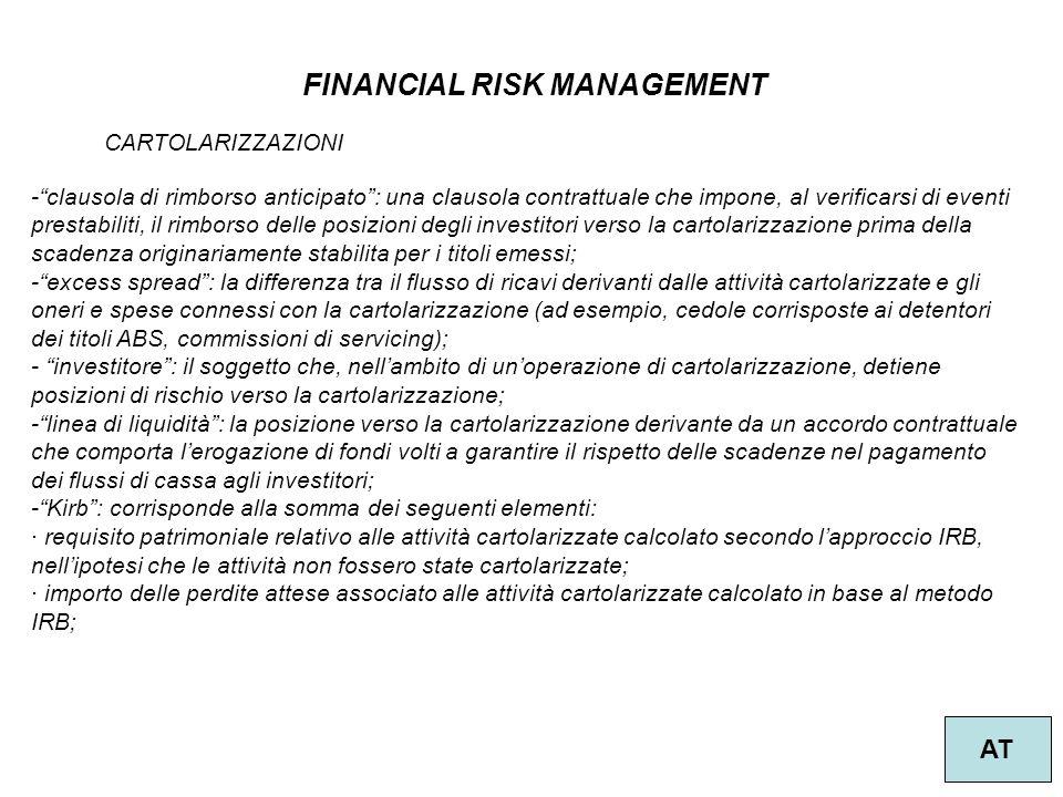 """51 FINANCIAL RISK MANAGEMENT AT CARTOLARIZZAZIONI -""""clausola di rimborso anticipato"""": una clausola contrattuale che impone, al verificarsi di eventi p"""