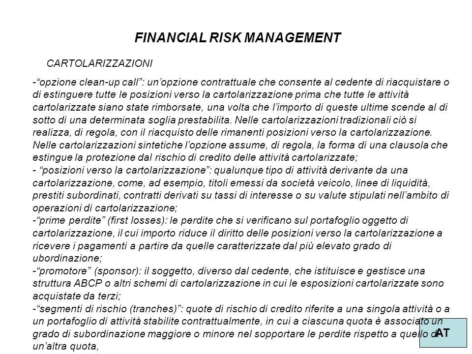"""52 FINANCIAL RISK MANAGEMENT AT CARTOLARIZZAZIONI -""""opzione clean-up call"""": un'opzione contrattuale che consente al cedente di riacquistare o di estin"""