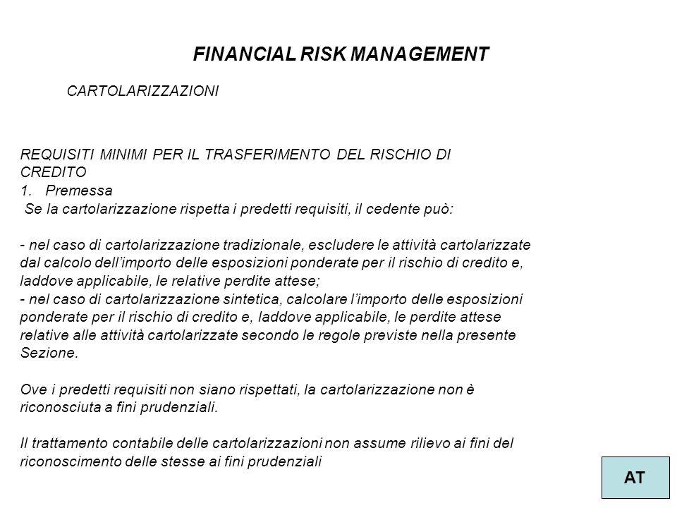 54 FINANCIAL RISK MANAGEMENT AT CARTOLARIZZAZIONI REQUISITI MINIMI PER IL TRASFERIMENTO DEL RISCHIO DI CREDITO 1.Premessa Se la cartolarizzazione risp