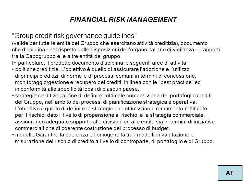 """56 FINANCIAL RISK MANAGEMENT AT """"Group credit risk governance guidelines"""" (valide per tutte le entità del Gruppo che esercitano attività creditizia),"""
