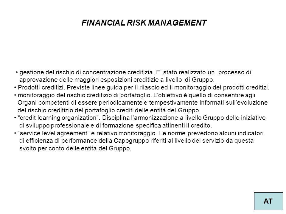 57 FINANCIAL RISK MANAGEMENT AT gestione del rischio di concentrazione creditizia. E' stato realizzato un processo di approvazione delle maggiori espo
