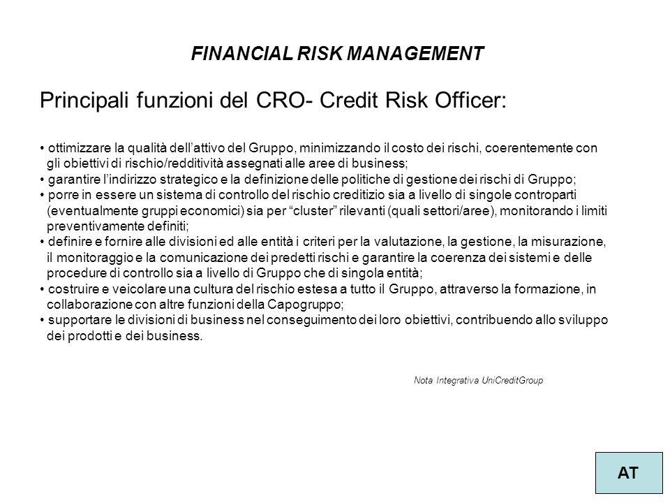 59 FINANCIAL RISK MANAGEMENT AT Principali funzioni del CRO- Credit Risk Officer: ottimizzare la qualità dell'attivo del Gruppo, minimizzando il costo
