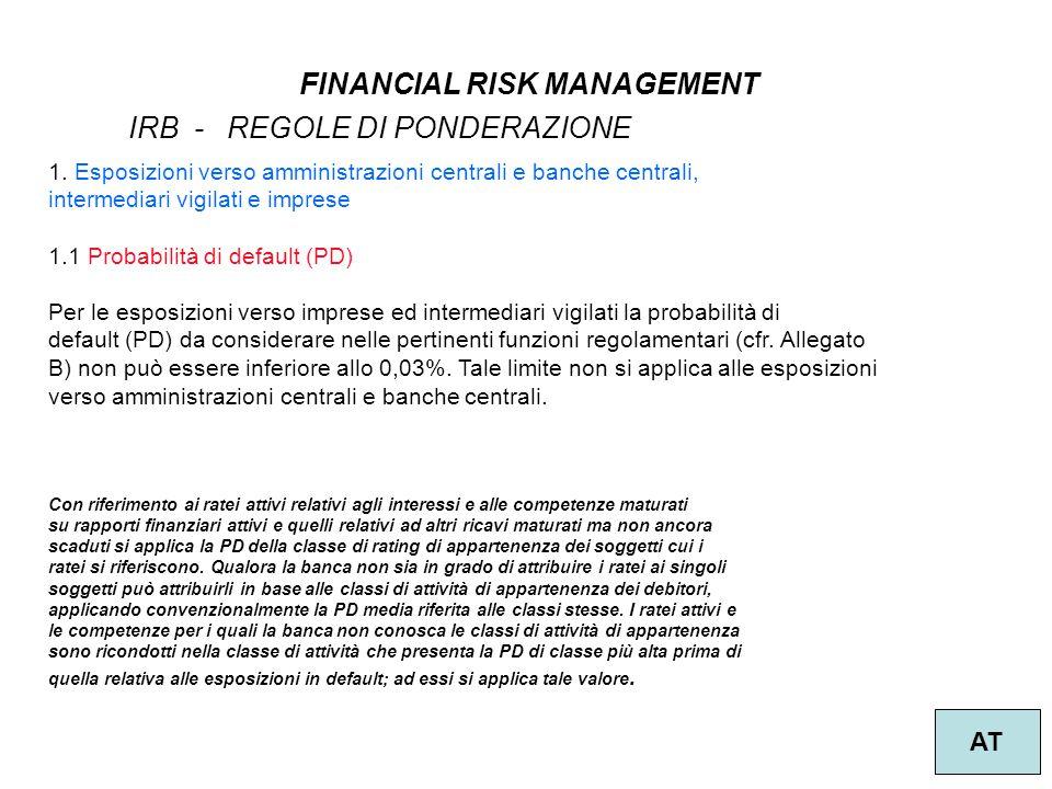 6 FINANCIAL RISK MANAGEMENT AT IRB - REGOLE DI PONDERAZIONE 1. Esposizioni verso amministrazioni centrali e banche centrali, intermediari vigilati e i