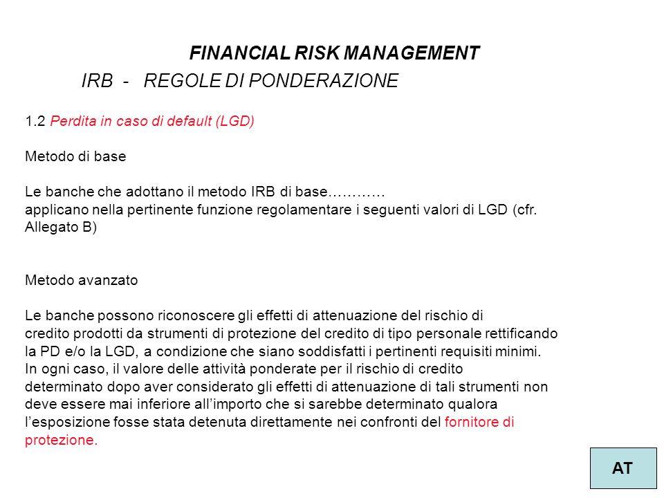 8 FINANCIAL RISK MANAGEMENT AT IRB - REGOLE DI PONDERAZIONE 1.2 Perdita in caso di default (LGD) Metodo di base Le banche che adottano il metodo IRB d