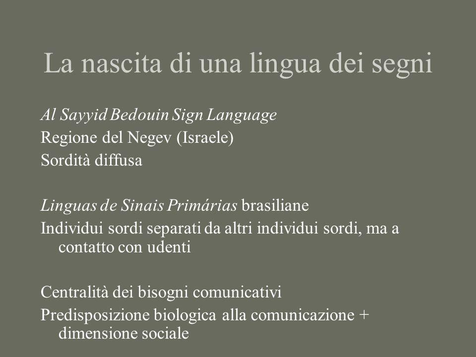 La nascita di una lingua dei segni Al Sayyid Bedouin Sign Language Regione del Negev (Israele) Sordità diffusa Linguas de Sinais Primárias brasiliane Individui sordi separati da altri individui sordi, ma a contatto con udenti Centralità dei bisogni comunicativi Predisposizione biologica alla comunicazione + dimensione sociale