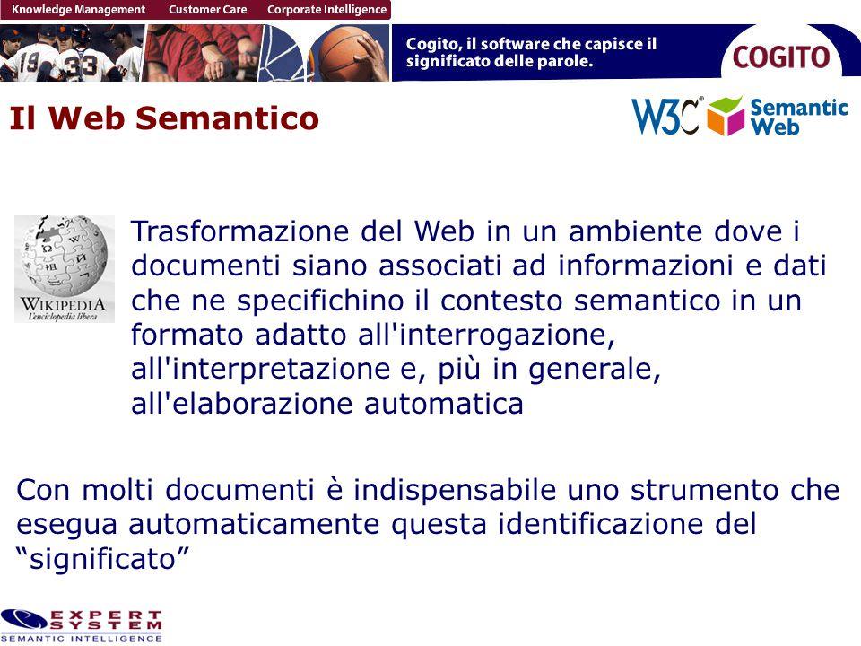 Il Web Semantico Trasformazione del Web in un ambiente dove i documenti siano associati ad informazioni e dati che ne specifichino il contesto semanti