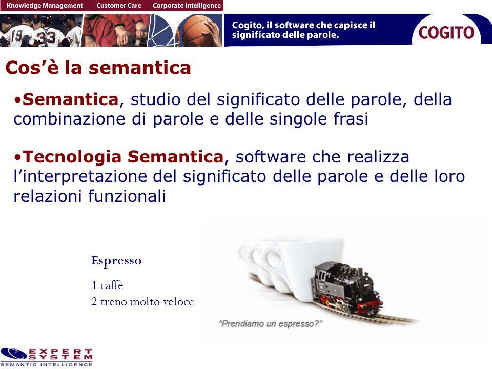 Cos'è la semantica Semantica, studio del significato delle parole, della combinazione di parole e delle singole frasi Espresso 1 caffè 2 treno molto v