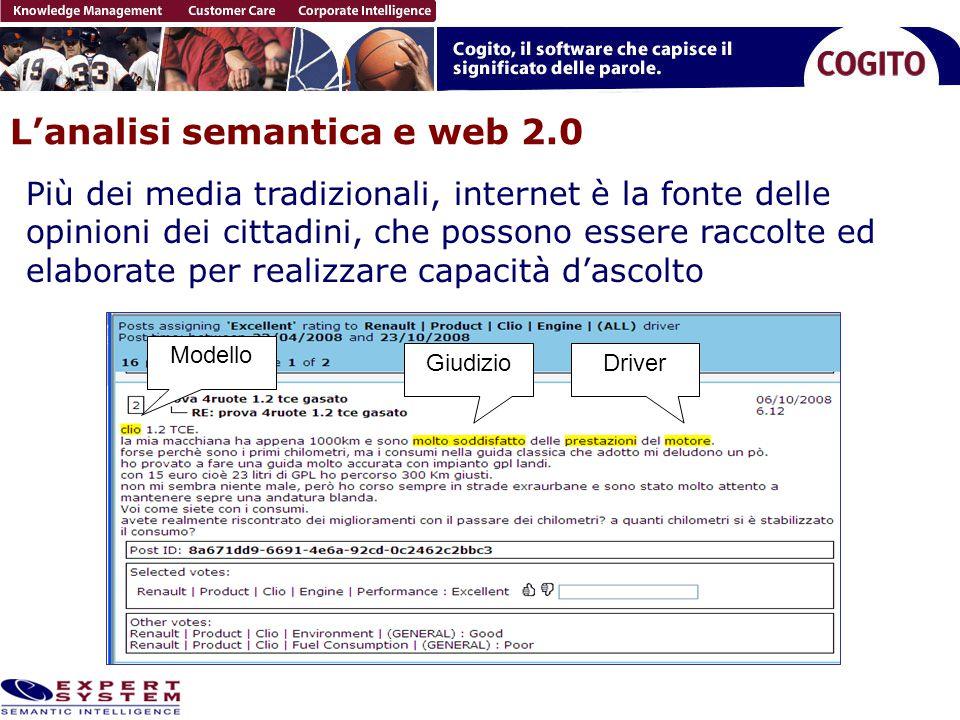 L'analisi semantica e web 2.0 Modello DriverGiudizio Più dei media tradizionali, internet è la fonte delle opinioni dei cittadini, che possono essere raccolte ed elaborate per realizzare capacità d'ascolto