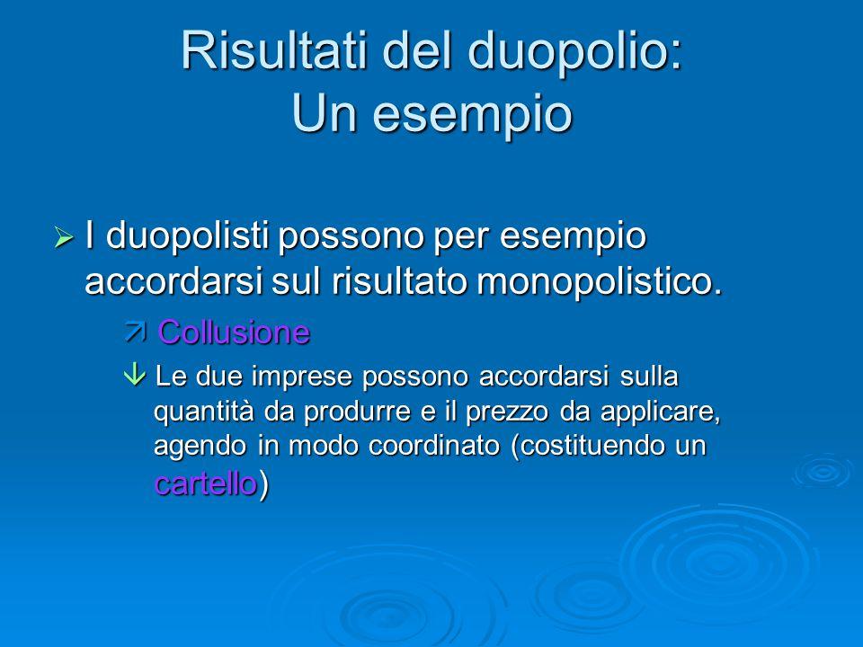 Risultati del duopolio: Un esempio  I duopolisti possono per esempio accordarsi sul risultato monopolistico.  Collusione  Le due imprese possono ac