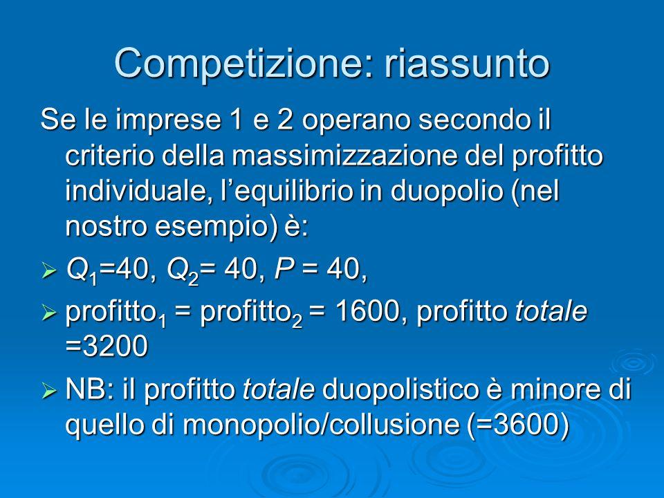 Competizione: riassunto Se le imprese 1 e 2 operano secondo il criterio della massimizzazione del profitto individuale, l'equilibrio in duopolio (nel