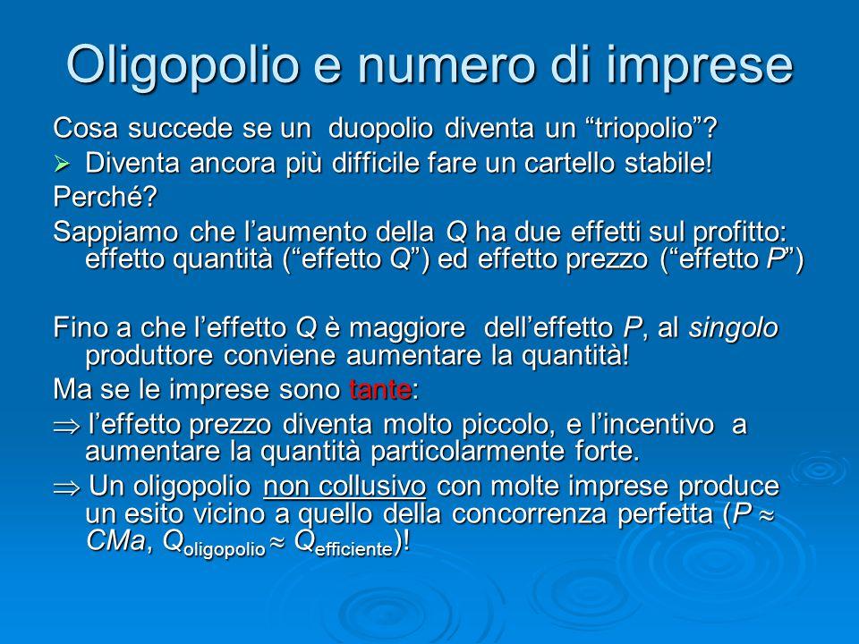 """Oligopolio e numero di imprese Cosa succede se un duopolio diventa un """"triopolio""""?  Diventa ancora più difficile fare un cartello stabile! Perché? Sa"""
