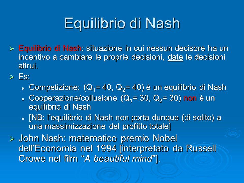 Equilibrio di Nash  Equilibrio di Nash: situazione in cui nessun decisore ha un incentivo a cambiare le proprie decisioni, date le decisioni altrui.