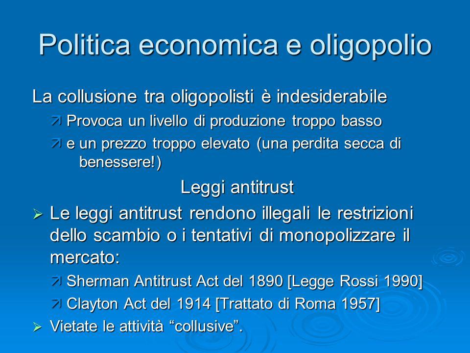 Politica economica e oligopolio La collusione tra oligopolisti è indesiderabile  Provoca un livello di produzione troppo basso  e un prezzo troppo e