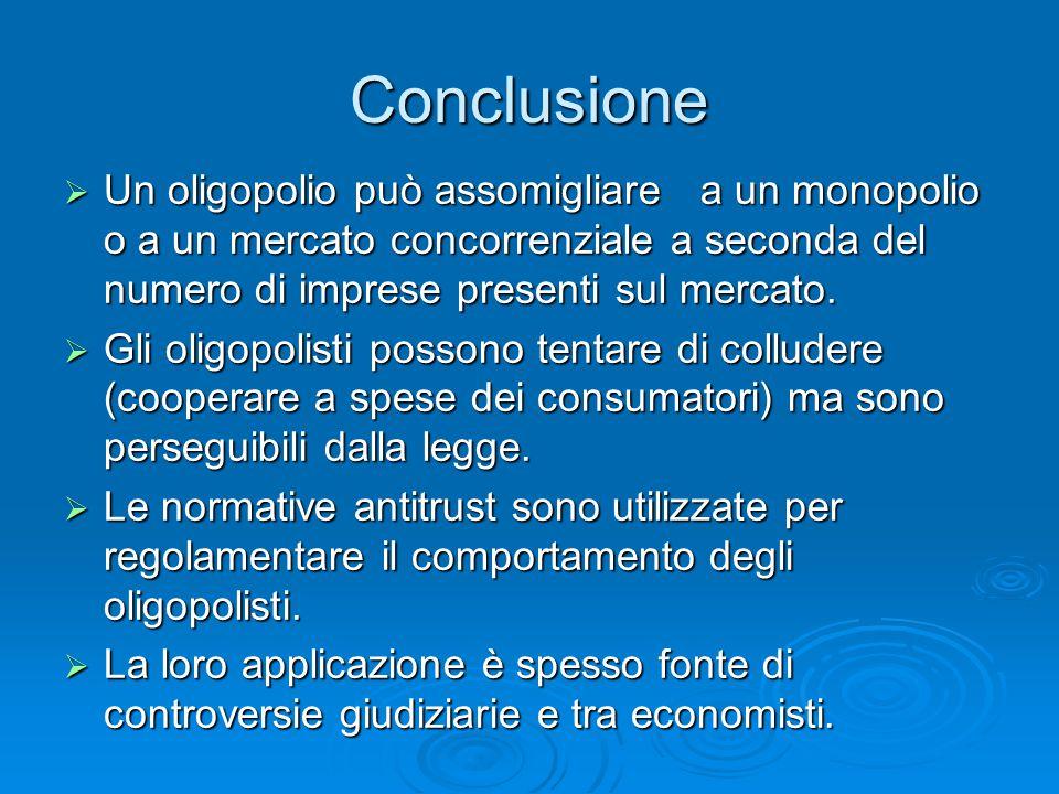 Conclusione  Un oligopolio può assomigliare a un monopolio o a un mercato concorrenziale a seconda del numero di imprese presenti sul mercato.  Gli