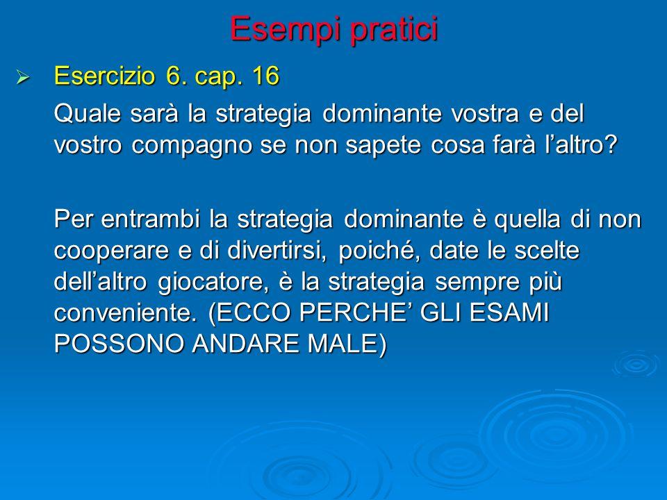 Esempi pratici  Esercizio 6. cap. 16 Quale sarà la strategia dominante vostra e del vostro compagno se non sapete cosa farà l'altro? Per entrambi la