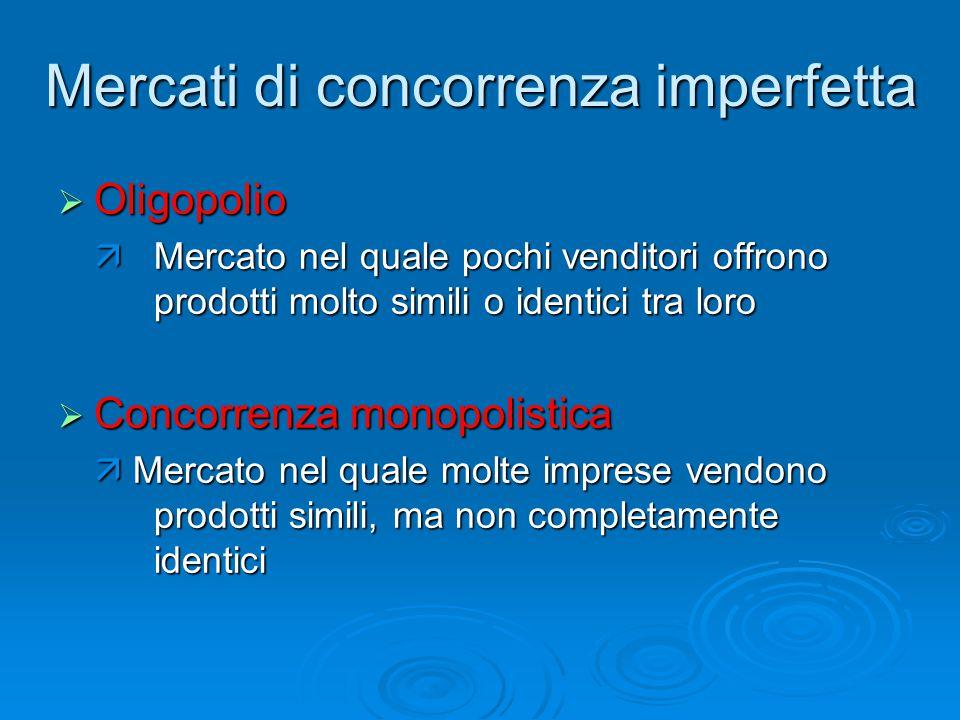 Mercati di concorrenza imperfetta  Oligopolio  Mercato nel quale pochi venditori offrono prodotti molto simili o identici tra loro  Concorrenza mon