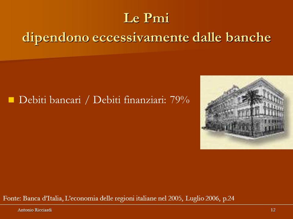 Antonio Ricciardi12 Le Pmi dipendono eccessivamente dalle banche Debiti bancari / Debiti finanziari: 79% Fonte: Banca d'Italia, L'economia delle regioni italiane nel 2005, Luglio 2006, p.24