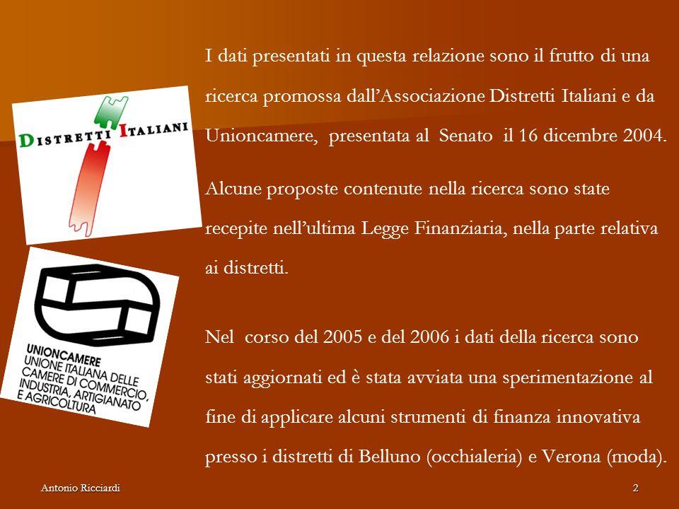 Antonio Ricciardi2 I dati presentati in questa relazione sono il frutto di una ricerca promossa dall'Associazione Distretti Italiani e da Unioncamere, presentata al Senato il 16 dicembre 2004.