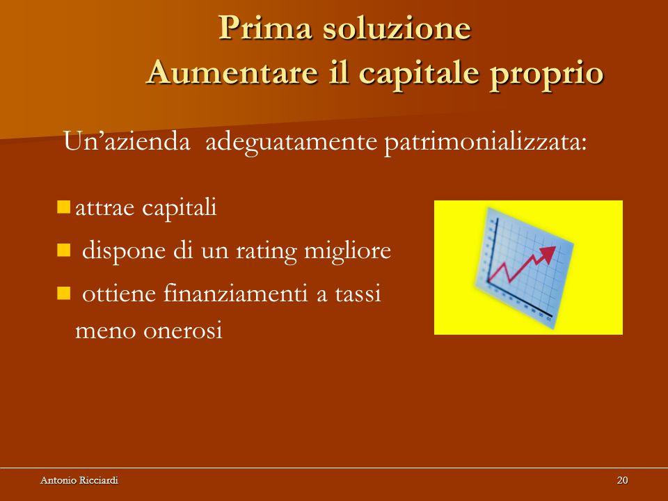 Antonio Ricciardi20 Prima soluzione Aumentare il capitale proprio Un'azienda adeguatamente patrimonializzata: attrae capitali dispone di un rating migliore ottiene finanziamenti a tassi meno onerosi
