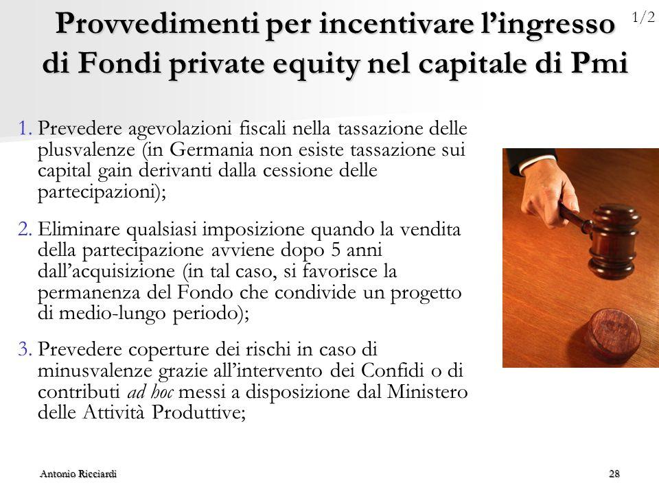 Antonio Ricciardi28 Provvedimenti per incentivare l'ingresso di Fondi private equity nel capitale di Pmi 1.