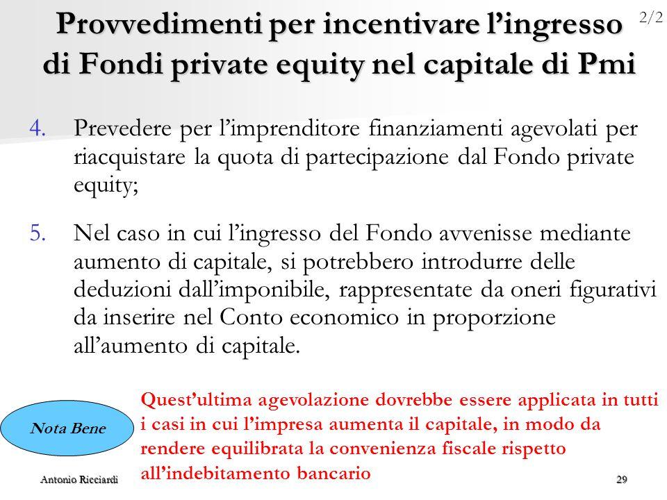 Antonio Ricciardi29 Provvedimenti per incentivare l'ingresso di Fondi private equity nel capitale di Pmi 4.