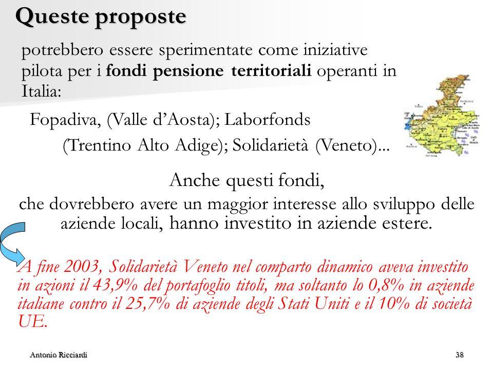 Antonio Ricciardi38 Queste proposte potrebbero essere sperimentate come iniziative pilota per i fondi pensione territoriali operanti in Italia: Anche questi fondi, che dovrebbero avere un maggior interesse allo sviluppo delle aziende locali, hanno investito in aziende estere.