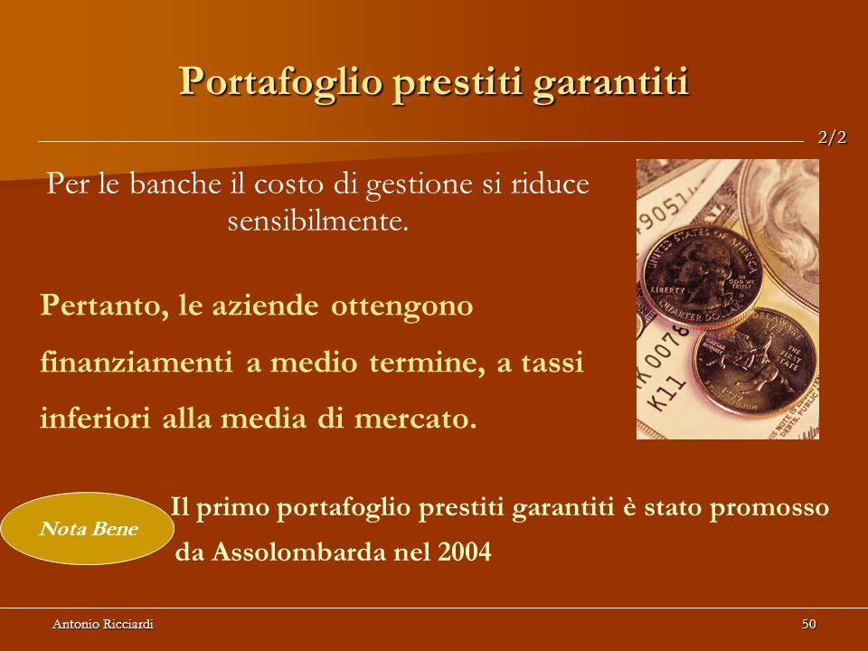Antonio Ricciardi50 Portafoglio prestiti garantiti Per le banche il costo di gestione si riduce sensibilmente.