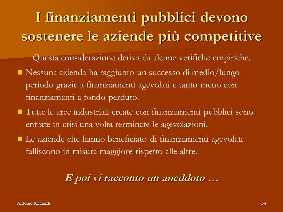Antonio Ricciardi54 I finanziamenti pubblici devono sostenere le aziende più competitive Questa considerazione deriva da alcune verifiche empiriche.