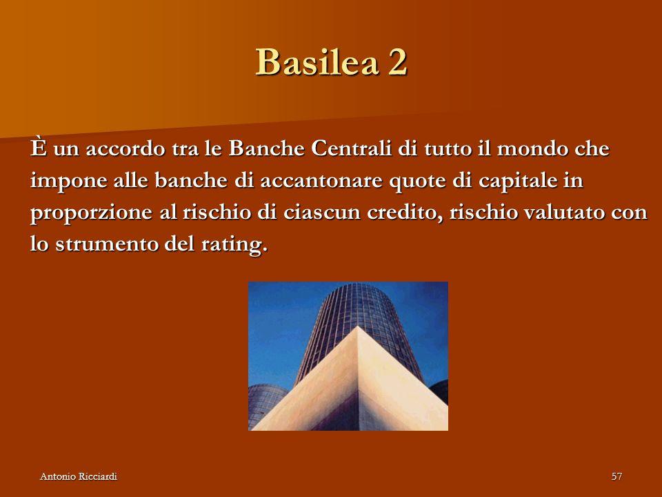 Antonio Ricciardi57 Basilea 2 È un accordo tra le Banche Centrali di tutto il mondo che impone alle banche di accantonare quote di capitale in proporzione al rischio di ciascun credito, rischio valutato con lo strumento del rating.