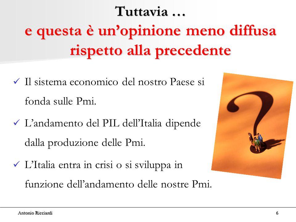 Antonio Ricciardi6 Tuttavia … e questa è un'opinione meno diffusa rispetto alla precedente Il sistema economico del nostro Paese si fonda sulle Pmi.