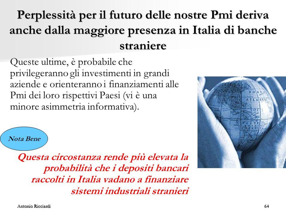 Antonio Ricciardi64 Perplessità per il futuro delle nostre Pmi deriva anche dalla maggiore presenza in Italia di banche straniere Queste ultime, è probabile che privilegeranno gli investimenti in grandi aziende e orienteranno i finanziamenti alle Pmi dei loro rispettivi Paesi (vi è una minore asimmetria informativa).