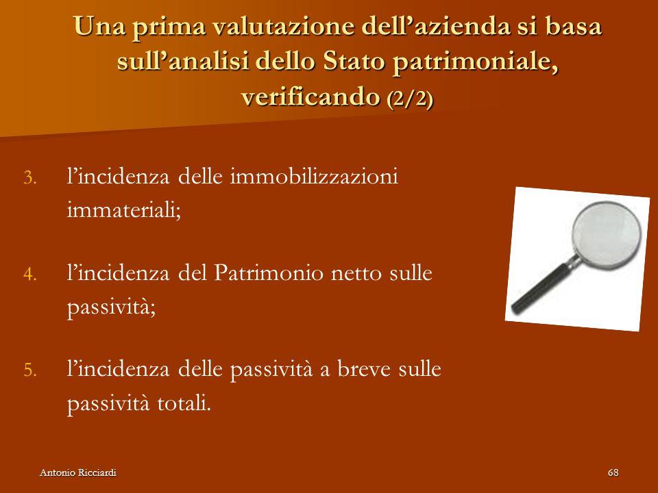 Antonio Ricciardi68 Una prima valutazione dell'azienda si basa sull'analisi dello Stato patrimoniale, verificando (2/2) 3.