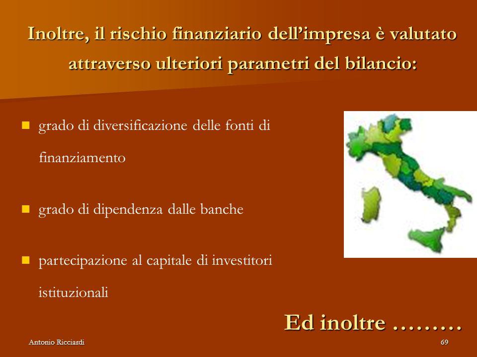 Antonio Ricciardi69 Inoltre, il rischio finanziario dell'impresa è valutato attraverso ulteriori parametri del bilancio: grado di diversificazione delle fonti di finanziamento grado di dipendenza dalle banche partecipazione al capitale di investitori istituzionali Ed inoltre ………