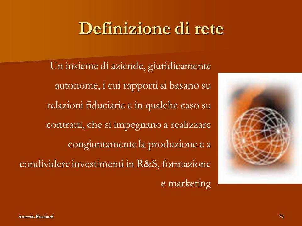 Antonio Ricciardi72 Definizione di rete Un insieme di aziende, giuridicamente autonome, i cui rapporti si basano su relazioni fiduciarie e in qualche caso su contratti, che si impegnano a realizzare congiuntamente la produzione e a condividere investimenti in R&S, formazione e marketing