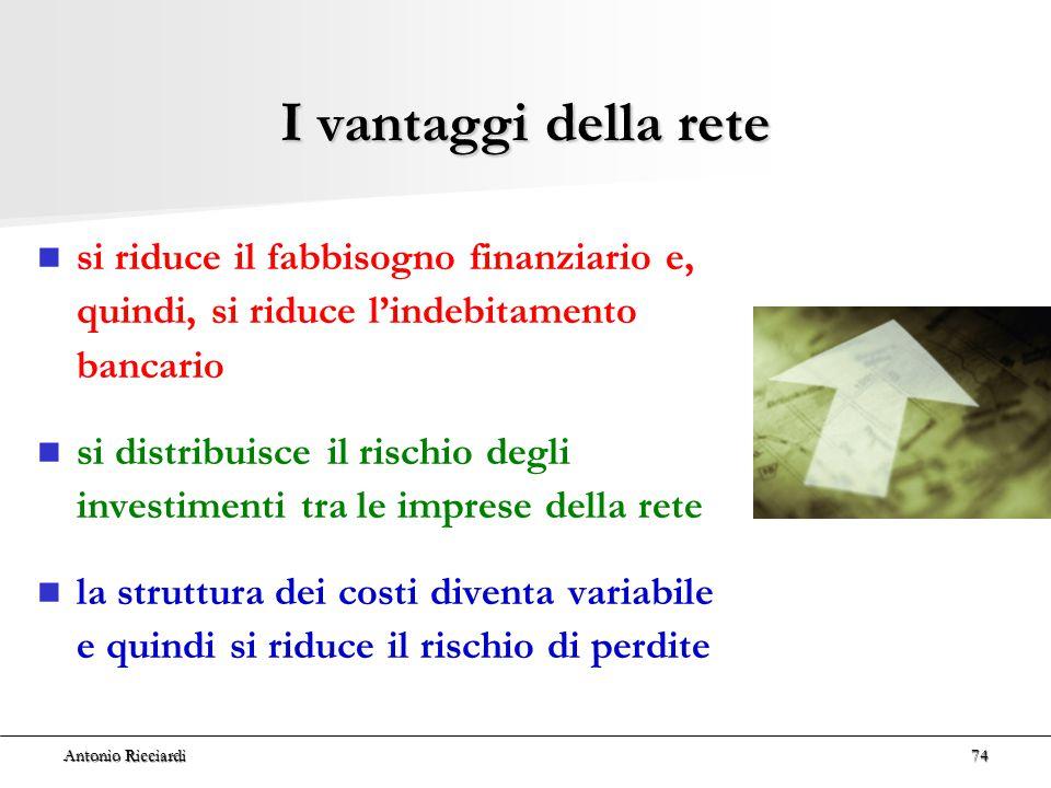 Antonio Ricciardi74 I vantaggi della rete si riduce il fabbisogno finanziario e, quindi, si riduce l'indebitamento bancario si distribuisce il rischio degli investimenti tra le imprese della rete la struttura dei costi diventa variabile e quindi si riduce il rischio di perdite