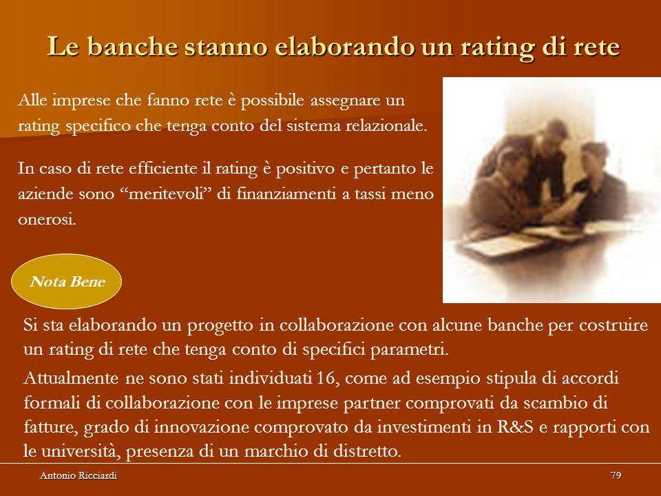 Antonio Ricciardi79 Le banche stanno elaborando un rating di rete Alle imprese che fanno rete è possibile assegnare un rating specifico che tenga conto del sistema relazionale.