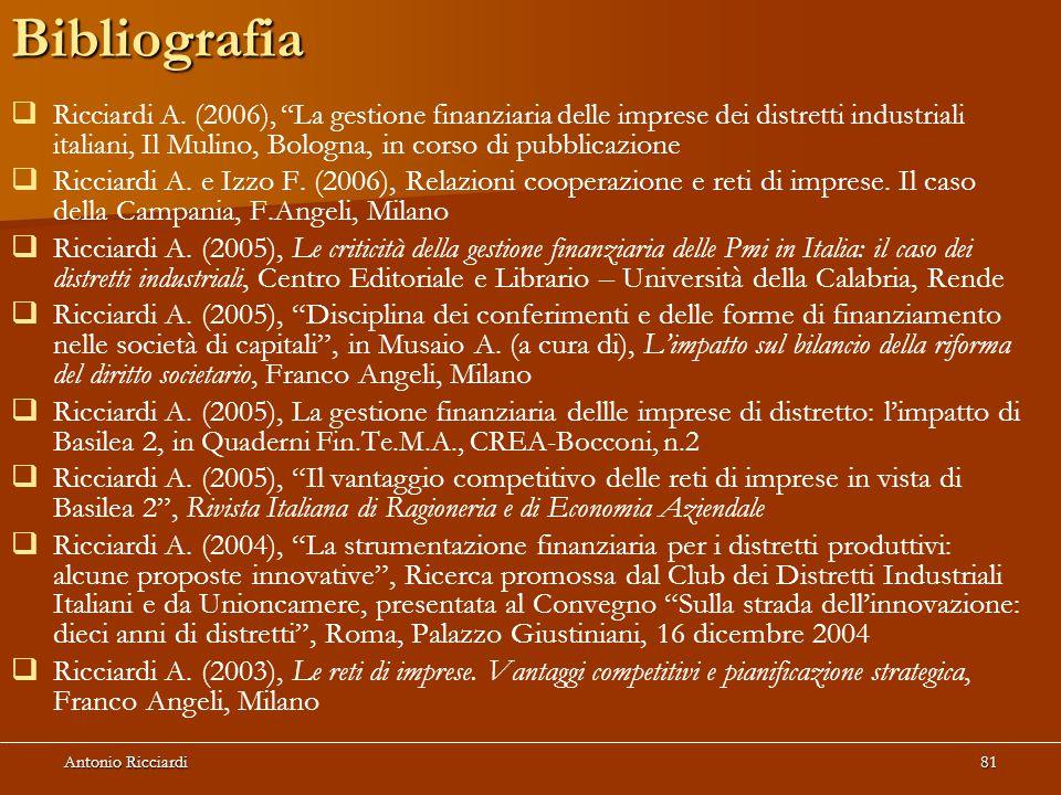 Antonio Ricciardi81Bibliografia   Ricciardi A.