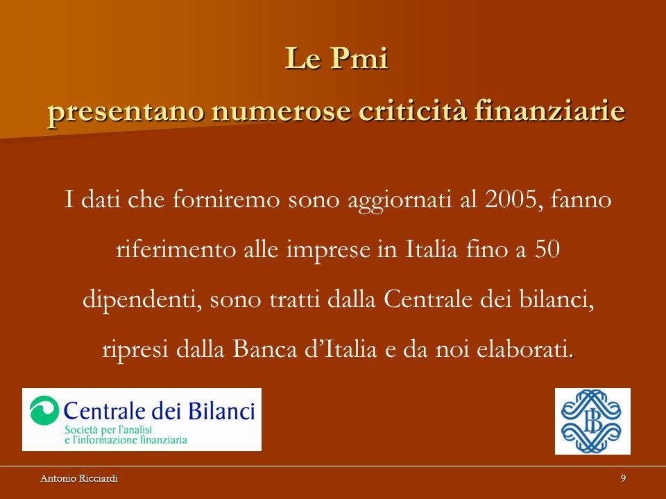 Antonio Ricciardi9 Le Pmi presentano numerose criticità finanziarie.