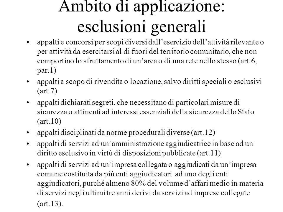 Ambito di applicazione: esclusioni generali appalti e concorsi per scopi diversi dall'esercizio dell'attività rilevante o per attività da esercitarsi